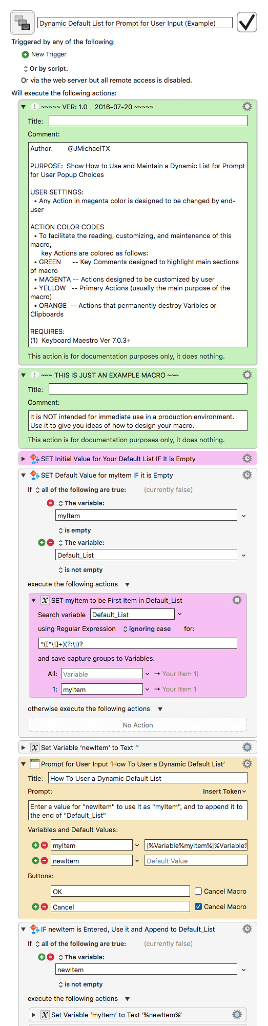 Dynamic Default List for Prompt for User Input (Example