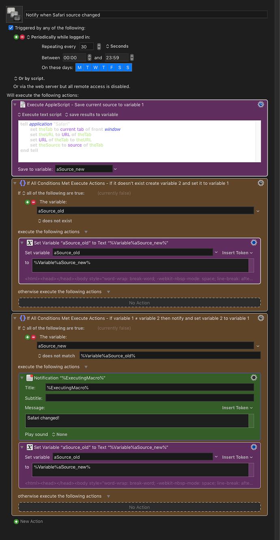 Notify when Safari source changed