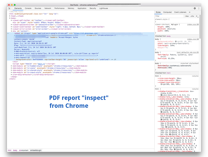 Dev Inspect page for reports java-for forum upload