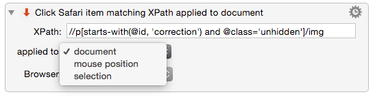 Click item on Chrome or Safari page by XPath - Plug In