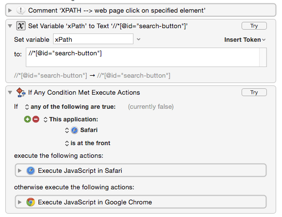 Click on the first web page item that matches an XPath
