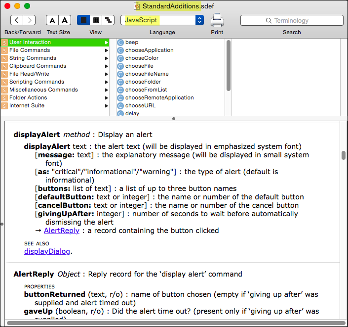 JXA: Checkout the StandardAdditions Dictionary - Questions