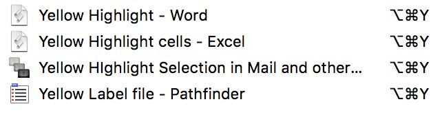 Using the same shortcut keys to highlight text in Mail