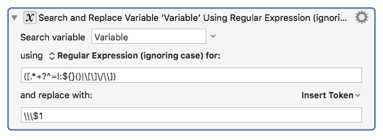 Filter Variable to escape regular expression special