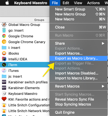 How to quickly export all available macro groups as macro