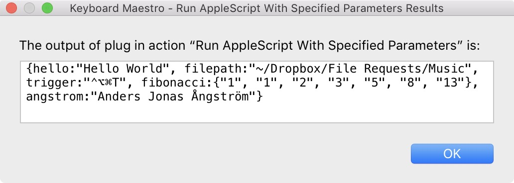 Run AppleScript With Specified Parameters - Plug In Actions