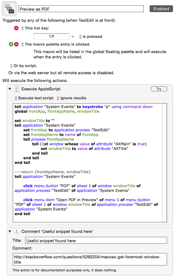 TextEdit macros to Toggle Zoom Font, Open PDF in Preview