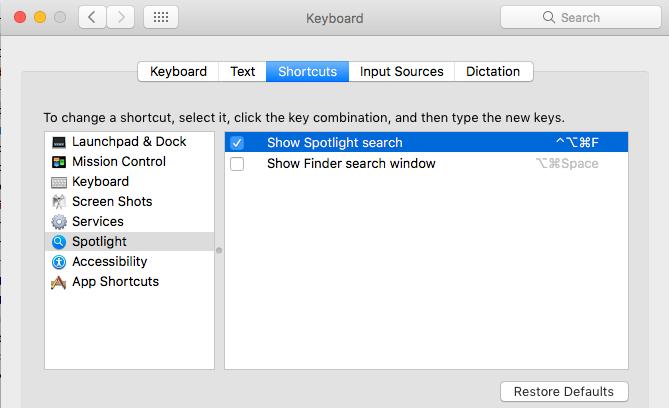 Spotlight Search Shortcut
