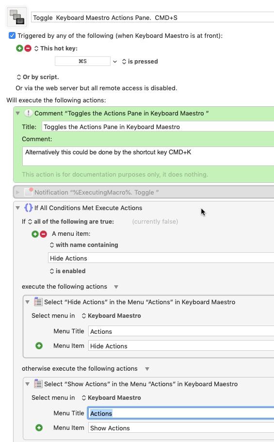 KMN Keyboard Maestro Editor Toggle Action Pane